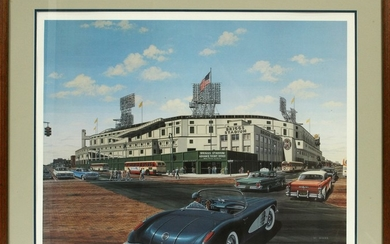 AFTER WILLIAM MOSS MICHIGAN B. 1943 OFFSET LITHOGRAPH 20 27 BRIGGS STADIUM