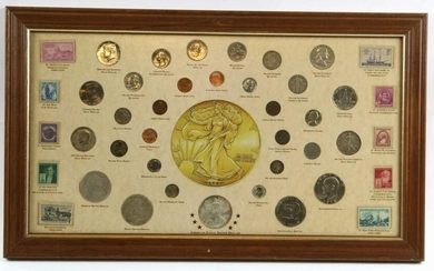 AMERICAN CUSTOM FRAMED COIN & STAMP SHADOWBOX