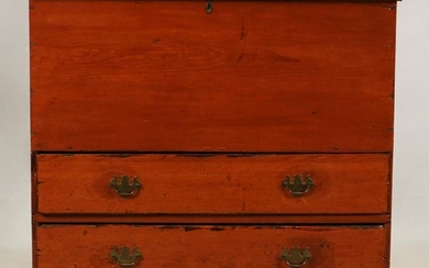 AMERICAN PRIMITIVE PINE BLANKET CHEST, 19TH.C.