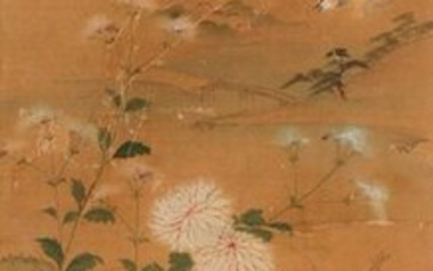 ANONYMOUS (QING DYNASTY) WAGTAILS AND CHRYSANTHEMUM A Chinese painting, ink and colour on silk, framed and glazed, 91cm x 37.5cm.