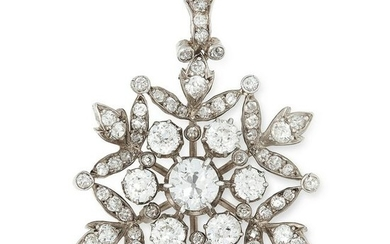 ANTIQUE DIAMOND SNOWFLAKE PENDANT set with old cut