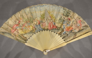 An 18th Century Ivory and Vellum Leafed Fan with ivory stick...