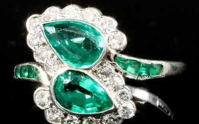An Emerald and Diamond Ring, Modern, in platinum mount,...