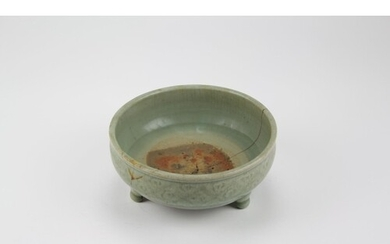 An antique Chinese incense bowl, decorated with a diaper wor...