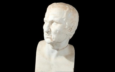 An antique white marble head of Solone