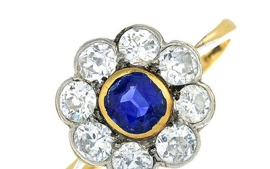 An early 20th century 18ct gold cushion-shape sapphire