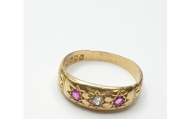 Antique 18ct Diamond and Ruby Gypsy style Ring, clear hallma...