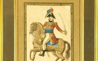 Antique 18th C French Soldier Watercolor Painting