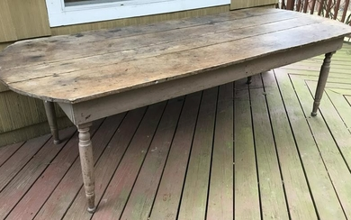Antique 19th C American Pine Plank Top Farm Table