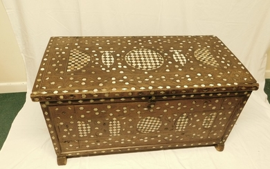Antique Afghan mother of pearl & bone inlaid chest on sleigh...