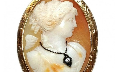 Antique Cameo Brooch with 14K Gold Frame