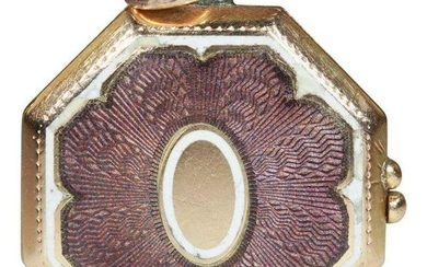 Antique Edwardian Guilloched Purple and White Enameled