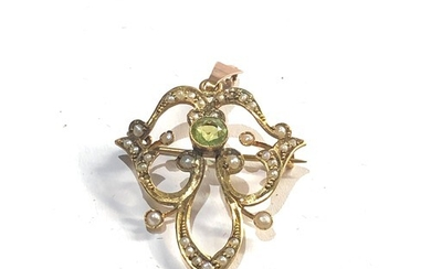 Antique Edwardian peridot and seed-pearl pendant brooch