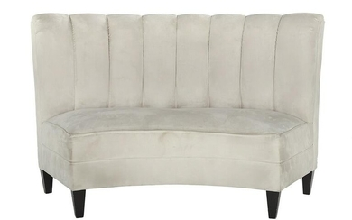Art Deco-Style Curved and Upholstered Bench