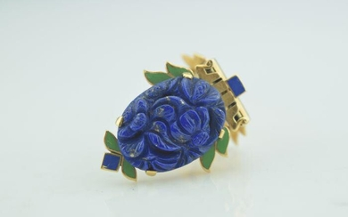 Art Deco Yellow Gold Lapis Lazuli, Green and Blue