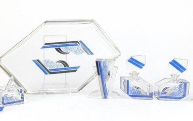 Art Deco flashed cut glass dressing table set on tray,