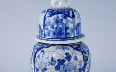 At Least Early 20c Chinese Blue & White Decorated Foo Dog Finial Covered Vase AFR3SH