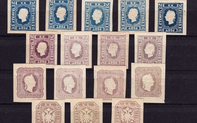 Austria 1866/1887 - Issue of newspaper stamps from 1858 to 1860 and 1863, official reprint - Austria Netto Katalog 2018 N16,N17,N23,N29