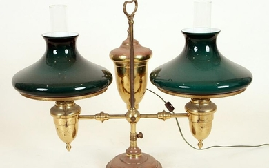 BRASS DOUBLE ARM STUDENT LAMP GLASS SHADES C.1880
