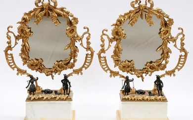 BRONZE AND MARBLE EMPIRE MIRRORS, PAIR