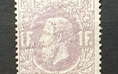Belgium 1874 - COB No. 36, Leopold II, left profile, 1 franc purple, MNH** VVF