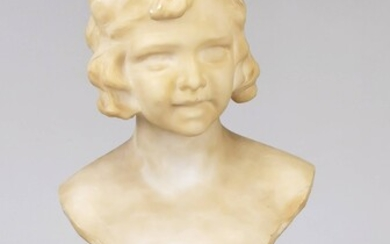 Berzo Pedrini, Italian sculptor around 1900, bust of a young girl, alabster, scratch-signed on the back, min. calc., Ges.-H. 30 cm