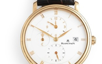 Blancpain: A gentleman's wristwatch of 18k gold. Model Villeret, ref. 6260–3642-55. Mechanical movement with automatic winding and date, cal. 5L60. 2000s.