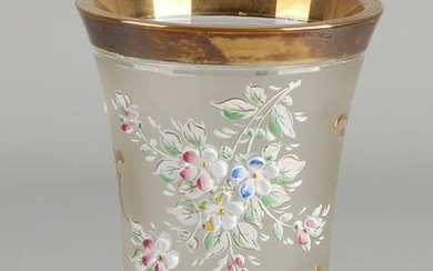 Bohemian crystal goblet glass with gold / floral and