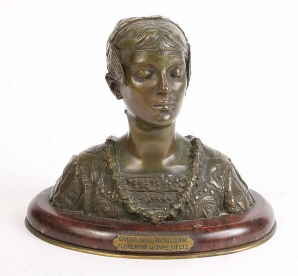 Bronze, After Roland Colombo-Grange, Bust of Lady