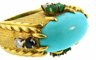 CARTIER Turquoise Yellow Gold RING Cocktail Diamond