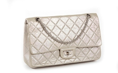 CHANEL, Bag 2.55 in silver quilted leather, shoulder...