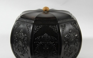 CHINESE OCTAGONAL HARDWOOD BOX AND COVER, each panel carved ...
