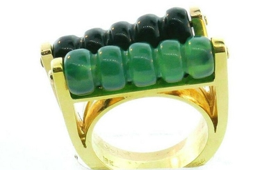 Cartier Set of Chrysoprase and Onyx Abacus Rings C.