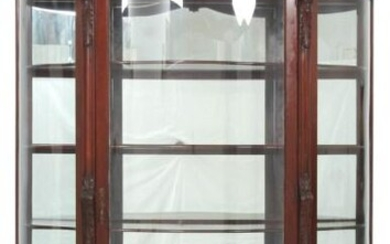 Carved Mahogany Serpentine Glass China Cabinet