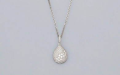 Chain and pendant in white gold, 750 MM, drawing a piriform pattern covered with diamonds, diamond bélière, length 45 cm, spring ring, weight: 3,45gr. rough.
