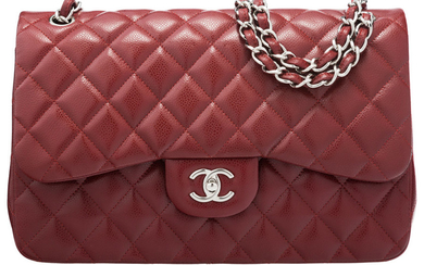 Chanel Dark Red Quilted Caviar Leather Jumbo Double Flap...