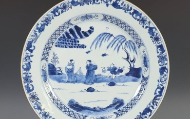 China, blue and white porcelain dish, Qianlong, decorated...