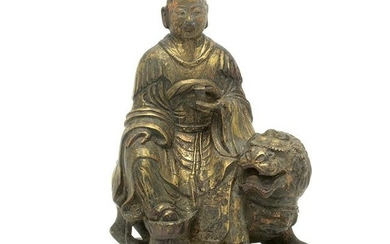 Chinese Gilt Painted Bronze Daoist Immortal Seated