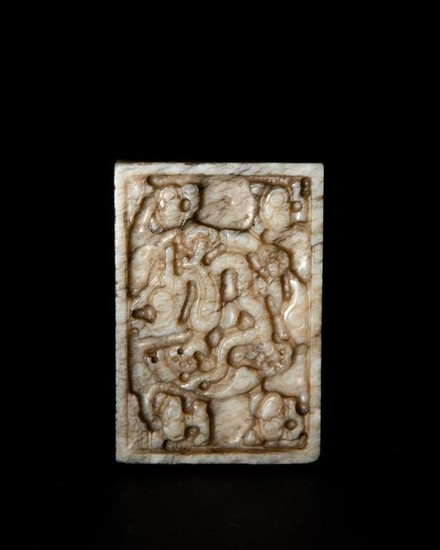 Chinese Jade Dragon Plaque, Ming
