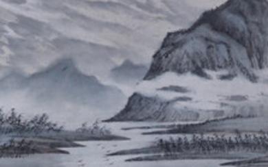 Chinese ROLLBILD - water landscape with mountains, bush and light colors on paper.