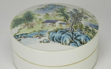 Chinese enameled porcelain box and cover