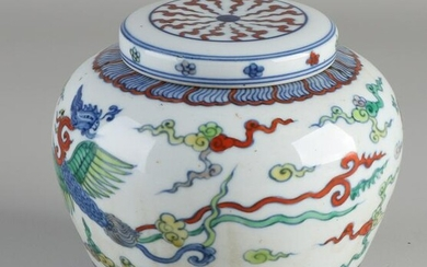 Chinese porcelain ginger jar with birds of paradise in