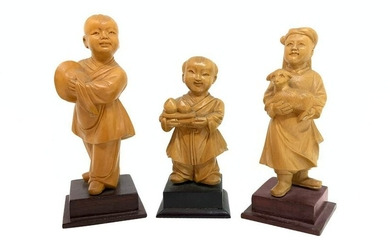 Chinese sculpture of three children with wooden stand