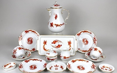 Coffee set for 6 persons, Meissen, 2nd half of the 20th century, form New cutout, rich dragon in red, consisting of: coffeepot (h: 24 cm), milk jug (h: 9,5 cm), sugar bowl (h: 9 cm), 6 place settings (plate diameter: 18 cm, saucer diameter: 14,5 cm)...