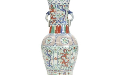 Colossal Chinese famille verte porcelain vase, baluster-shaped decorated with dragon in fields. 20th century. H. 91 cm.