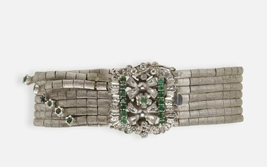 Diamond, emerald, and white gold bracelet