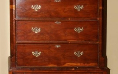 ENGLISH CHIPPENDALE YEW WOOD HIGHBOY, C. 1780