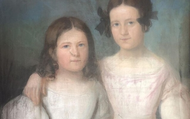 Early 19th century school. Two girls. Pastel (accident)....