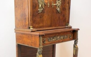 Empire style wall cabinet with bronze fittings - Empire Style - Bronze, carrot nut veneer - 19th century