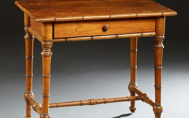 English Pitch Pine Faux Bamboo Writing Table, c. 1880